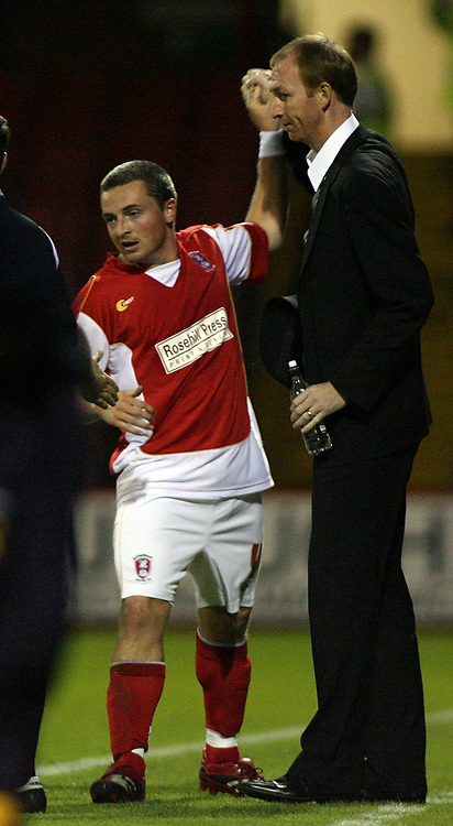 Photo: Paul Thomas.<br /> Rotherham United v Norwich City. Carling Cup. 19/09/2006.<br /> <br /> Michael Keane of Rotherham (L) celebrates his goal with manager Alan Knill.