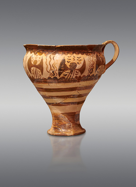 Minoan decorated cup for export, Kommos Harbour 1600-1450 BC; Heraklion Archaeological  Museum, grey background. .<br /> <br /> If you prefer to buy from our ALAMY PHOTO LIBRARY  Collection visit : https://www.alamy.com/portfolio/paul-williams-funkystock/minoan-art-artefacts.html . Type -   Heraklion   - into the LOWER SEARCH WITHIN GALLERY box. Refine search by adding background colour, place, museum etc<br /> <br /> Visit our MINOAN ART PHOTO COLLECTIONS for more photos to download  as wall art prints https://funkystock.photoshelter.com/gallery-collection/Ancient-Minoans-Art-Artefacts-Antiquities-Historic-Places-Pictures-Images-of/C0000ricT2SU_M9w