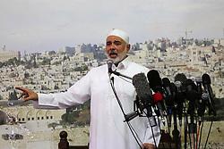 July 21, 2017 - Gaza City, Gaza Strip, Palestinian Territory - Hamas Chief Ismail Haniyeh gives a speech during Friday prayer at the al-Omari mosque in Gaza city on July 21, 2017  (Credit Image: © Mohammed Asad/APA Images via ZUMA Wire)