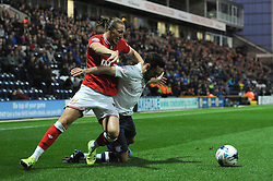 Luke Ayling of Bristol City challenges Greg Cunningham of Preston North End for the ball - Mandatory byline: Dougie Allward/JMP - 07966386802 - 15/09/2015 - FOOTBALL - Deepdale Stadium -Preston,England - Bristol City v Preston North End - Sky Bet Championship