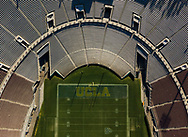 An empty Rose Bowl stadium on New Year's Day. The Rose Bowl college football game is traditionally played at the Rose Bowl stadium, but was moved to Texas due to Covid19 and fewer restrictions. The last time the game was moved was in 1942, due to a possible attack by Japanese forces in World War 2.<br /> 1/1/2021 Pasadena, CA USA<br /> (Photo by Ted Soqui)