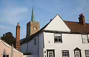 Buildings and church tower at Nayland village, Essex, England