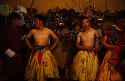 Bhutanese dancers perform in the Jampey Lhakhang festival in Jakar, Bhumtang district