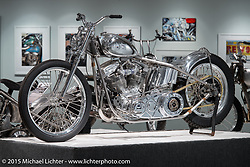 """Bill Dodge's HD panhead in Michael Lichter's annual Motorcycles as Art Show """"Naked Truth"""" at the Buffalo Chip during the 75th Annual Sturgis Black Hills Motorcycle Rally.  SD, USA.  August 6, 2015.  Photography ©2015 Michael Lichter."""