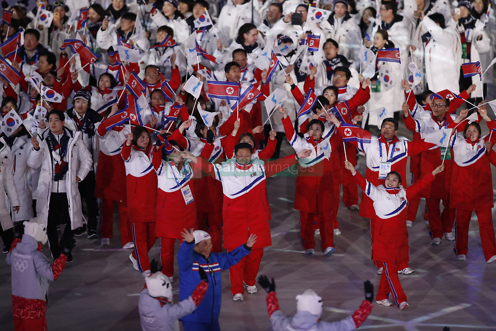 February 25, 2018 - Pyeongchang, KOREA - Athletes from North Korea (with Korea behind them) during the closing ceremony for the Pyeongchang 2018 Olympic Winter Games at Pyeongchang Olympic Stadium. (Credit Image: © David McIntyre via ZUMA Wire)