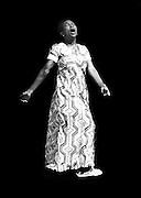 Female Soul Singer on black background