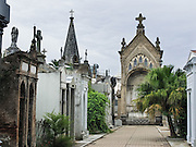 Designed by a French architect, Recoleta Cemetery was dedicated in 1822, and is an outstanding display of 1800-1900s funerary art, crypts, mausoleums, and architecture, all above ground, in Buenos Aires, Argentina, South America. The tomb of Eva Perón is the most-visited. Cementerio de la Recoleta contains the mortal remains of many other figures in Argentine history: Juan Bautista Alberdi, Manuel Dorrego, Bartolomé Mitre, Juan Manuel de Rosas, Cornelio Saavedra, Guillermo Brown, and Domingo Faustino Sarmiento.