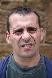 Portrait of man with learning disability at Brook Farm; Linby,