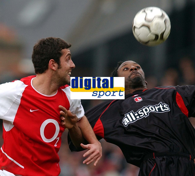 Photo. Javier Garcia<br />02/03/2003 Arsenal v Charlton, FA Barclaycard Premiership, Highbury<br />Charlton's Jason Euell concentrates on the ball under pressure from Edu