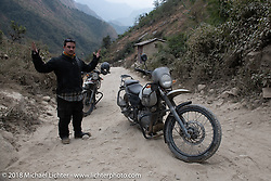 WTF - Chris Shelby's neck gave out on day-4 of our Himalayan Heroes adventure riding from Pokhara to Kalopani, Nepal. Friday, November 9, 2018. Photography ©2018 Michael Lichter.