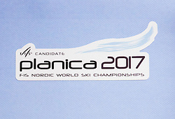 Logo of Planica, candidate city for Nordic World Championship 2017, on May 22, 2012 in SZS, Ljubljana, Slovenia. (Photo by Vid Ponikvar / Sportida.com)