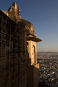 A view of Jaipur from the Nahargarh Fort, Jaipur, India<br /> The fort, built originally in 1734 by Maharaja Sawai Jai Singh II forms a defensive line above and around the city. Orginally called Sudarshangarh, it gradually became known as Nahargarh or 'abode of tigers'