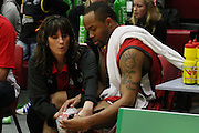 Injured Piston Jerry Smith getting treatment from team Physio Andie Meade  during their NBL Game at Hamilton,,Basketball,Pistons Vs Jets, Wednesday 22 June 2011.<br /> Photo: Dion Mellow / photosport.co.nz