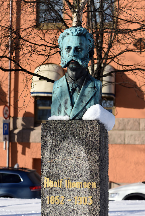 Memorial to the Norwegian composer and musician Adolf Thomsen 1852 to 1905 outside Tromsø Cathedral. Tromsø, Troms, Norway.