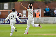 (Caption Correction) Wicket - Tim Groenewald of Somerset celebrates taking the wicket of George Rhodes of Worcestershire during the Specsavers County Champ Div 1 match between Somerset County Cricket Club and Worcestershire County Cricket Club at the Cooper Associates County Ground, Taunton, United Kingdom on 22 April 2018. Picture by Graham Hunt.