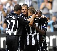Photo: Jed Wee/Sportsbeat Images.<br /> Newcastle United v Sampdoria. Pre Season Friendly. 05/08/2007.<br /> <br /> Newcastle celebrate with goalscorering debutant Alan Smith (C).