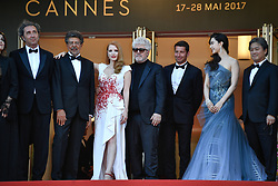 Paolo Sorrentino, Gabriel Yared, Jessica Chastain, Pedro Almodovar, Fan Bingbing, Park Chan Wook arriving for the 70th Cannes Film Festival closing ceremony on May 28, 2017 in Cannes, France. Photo by Julien Zannoni/APS-Medias/ABACAPRESS.COM