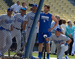 June 10, 2017 - Los Angeles, California, U.S. - Former Los Angeles Dodgers Nick Puento, right, and Josh Beckett, left, with curet pitcher Clayton Kershaw during the Old Timers game prior to a Major League baseball game between the Cincinnati Reds and the Los Angeles Dodgers at Dodger Stadium on Saturday, June 10, 2017 in Los Angeles. (Photo by Keith Birmingham, Pasadena Star-News/SCNG) (Credit Image: © San Gabriel Valley Tribune via ZUMA Wire)
