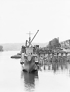 """1301-2. """"Hull #136 LCI(L) 761. 14 May 1944. Commercial Iron Works, Portland, Oregon."""" (Zidell site south of Ross Island bridge)"""