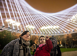 © Licensed to London News Pictures.  10/01/2019.LONDON UK. A Mother and Daughter get a preview of Light and Sound installation The Nest, in Lloyd Park,Waltham Forest, Part of this weekends launch of Welcome to the Forest, the first event as part of Waltham Forest London Borough of Culture 2019 year.<br /> Photo credit: Andrew Baker/LNP