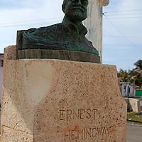 Central America, Cuba, Cojimar. Ernest Hemingway Bust, made by local fisherman in Cojimar.