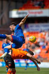 Inverness Caledonian Thistle's Brad McKay goes over Dundee United's Nicky Clark and gets injured and stretchered off. half time : Dundee United 2 v 1 Inverness Caledonian Thistle, first Scottish Championship game of season 2019-2020, played 3/8/2019 at Tannadice Park, Dundee.