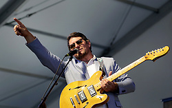 30 April 2015. New Orleans, Louisiana.<br /> The New Orleans Jazz and Heritage Festival. <br /> Eric Lindell plays the Blues.<br /> Photo; Charlie Varley/varleypix.com