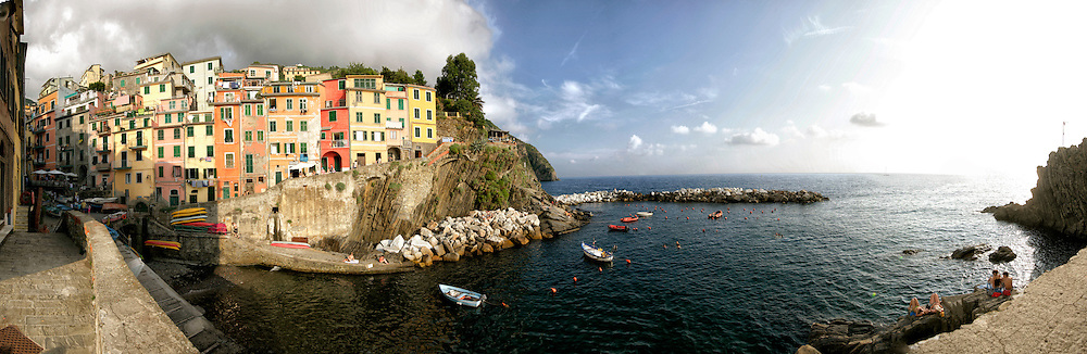 Tower Houses on the Gulf of Genoa, Riomaggiore, Italy.