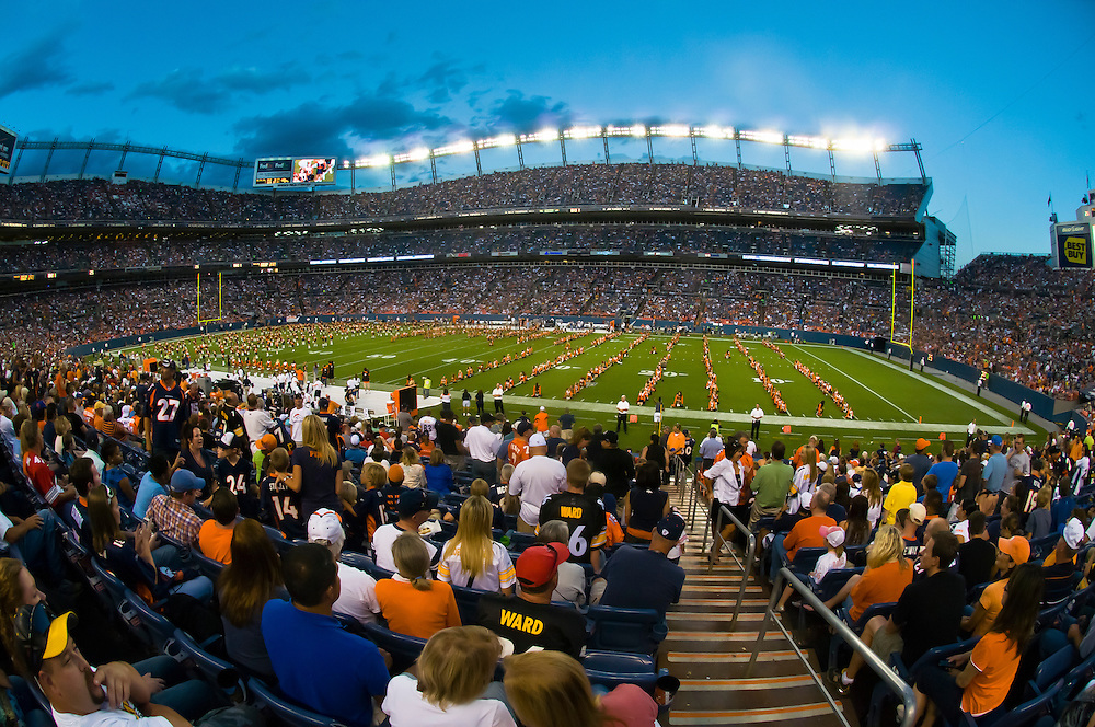 Stadium scene, Denver Broncos vs. Pittsburgh Steelers NFL football game, Invesco Field at Mile High (stadium), Denver, Colorado USA