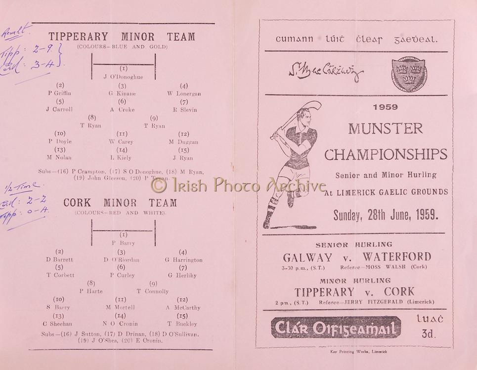 Munster Senior Hurling Championship Programme June 28th 1959.Galway vs Waterford
