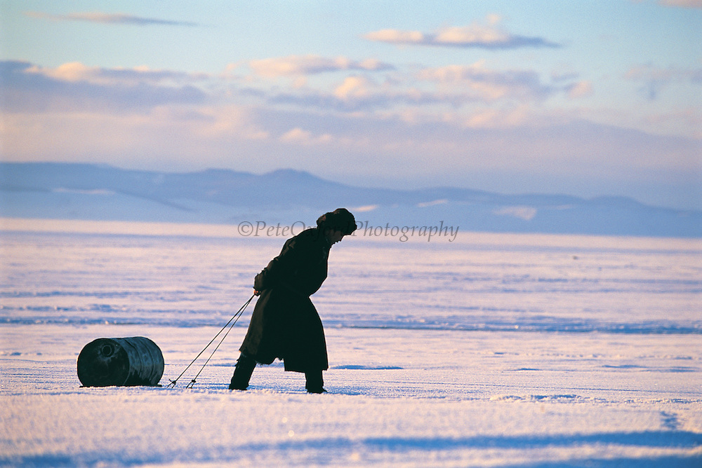 Water drum on sled<br /> near Renchihlhumbe Town<br /> Darkhadyn Khotgor Depression<br /> Northern Mongolia