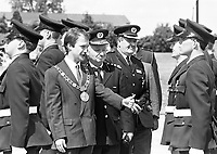 Lord Mayor of Dublin Sean Haughey at the fire fighter physical educaton and life saving desplay at the Passing out parade of new firemen for the Dublin Fire Brigade, 03/08/1989 (Part of the Independent Newspapers Ireland/NLI Collection).