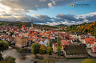 Looking down onto the village of Cesky Krumlov, Czech Republic