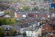 A view of terraced housing next to Coventry City Centre in Coventry on the 28th of April 2021, Coventry, United Kingdom. Coventry has been nominated the UK City of Culture for 2021.