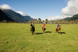 Chile, Lake Country: People riding horses at Peulla in a meadow in the Andes..Photo #: ch602-33249..Photo copyright Lee Foster www.fostertravel.com, lee@fostertravel.com, 510-549-2202.