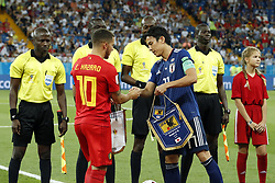 (l-r) Eden Hazard of Belgium, Makoto Hasebe of Japan during the 2018 FIFA World Cup Russia round of 16 match between Belgium and Japan at the Rostov Arena on July 02, 2018 in Rostov-On-Don, Russia