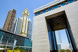 view of modern skyline and The Gate at DIFC Dubai International Financial Center in Dubai United Arab Emirates