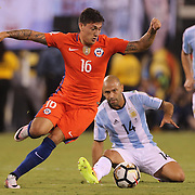 EAST RUTHERFORD, NEW JERSEY - JUNE 26:  Nicolas Castillo #16 of Chile in action during the Argentina Vs Chile Final match of the Copa America Centenario USA 2016 Tournament at MetLife Stadium on June 26, 2016 in East Rutherford, New Jersey. (Photo by Tim Clayton/Corbis via Getty Images)