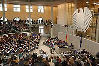 """14 MAR 2003, BERLIN/GERMANY:<br /> Uebersicht Plenum des Deutschen Bundestages mit Bundesadler, waehrend der Regierungserklaerung von Gerhard Schroeder, SPD, Bundeskanzler unter dem Titel """"Mut zum Frieden - Mut zur Veraenderung""""<br /> IMAGE: 20030314-01-016<br /> KEYWORDS: Gerhard Schröder, Reformrede, Übersicht Agenda 2010"""