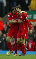 Fotball<br /> England 2004/2005<br /> Foto: SBI/Digitalsport<br /> NORWAY ONLY<br /> <br /> Liverpool v Fulham<br /> Barclays Premiership. 05/02/2005. <br /> <br /> Liverpool's goalscorers Fernando Morientes and Milan Baros share a laugh after Baros had scored the thrid goal of the game.
