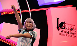 Mikuru Suzuki performing her Baby Shark walk on stage after she won the Women's final on Saturday during day nine of the BDO World Professional Darts Championship 2019 at The Lakeside, London.