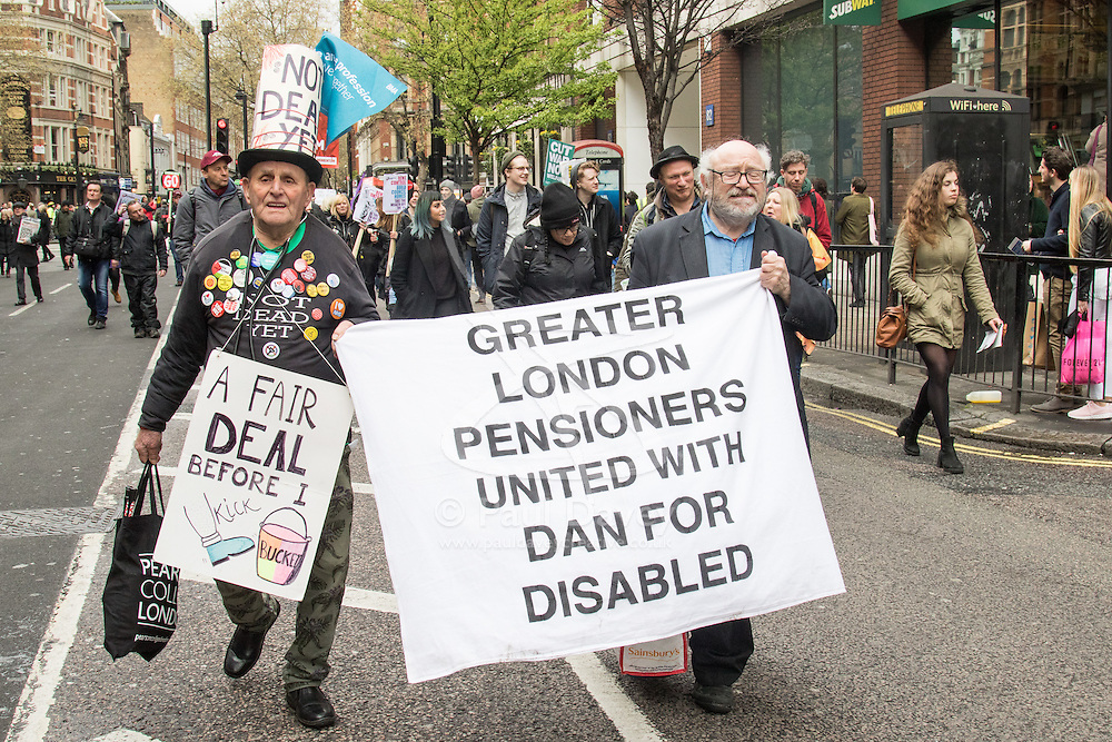 """London, April 16th 2016. Pensioners march in solidarity with the disabled as thousands of people supported by trade unions and other rights organisations demonstrate against the policies of the Tory government, including austerity and perceived favouring of """"the rich"""" over """"the poor""""."""