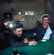 Man playing domino at the tea house by the main bazaar in Kars.