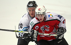 Brad Purdie of Linz vs Jakob Milovanovic of Briancon at ice hockey match EHC Liwest BW Linz of Austria vs HC DR Briancon of France during Summer league R. Hiti,  on August 29, 2008 in Arena Bled, Bled, Slovenia.  (Photo by Vid Ponikvar / Sportal Images)