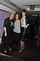 Left to right, KATE HALFPENNY, MYLEENE KLASS and ERIN O'CONNOR at the launch of 'She Died of Beauty' as part of London Fashion Week Autumn/Winter 2012 held at The Club at The Ivy Club, London on 17th February 2012.