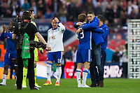 Chelsea's Gary Cahill congratulates team mate Marcos Alonso after the  game  <br /> <br /> <br /> Photographer Craig Mercer/CameraSport<br /> <br /> Emirates FA Cup Semi-Final - Chelsea v Tottenham Hotspur - Saturday 22nd April 2017 - Wembley Stadium - London<br />  <br /> World Copyright © 2017 CameraSport. All rights reserved. 43 Linden Ave. Countesthorpe. Leicester. England. LE8 5PG - Tel: +44 (0) 116 277 4147 - admin@camerasport.com - www.camerasport.com