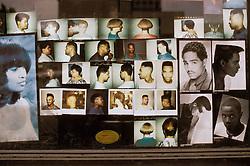 Barber, beauty salon window, african american portraits. CONCEPT STOCK PHOTOS CONCEPT STOCK PHOTOS