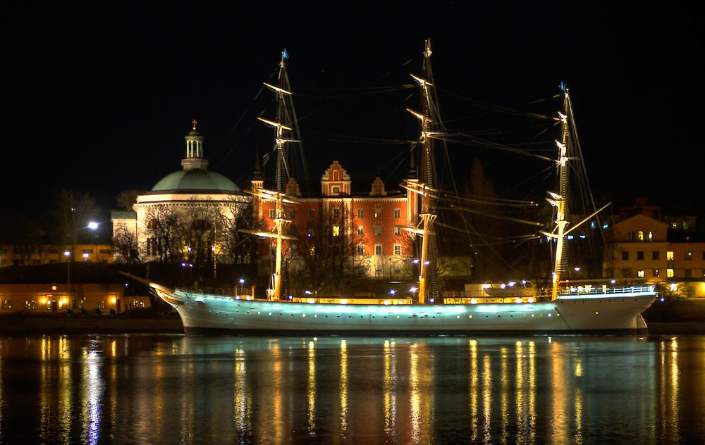 af Chapman sailing shop anchoring at Skeppsholmen