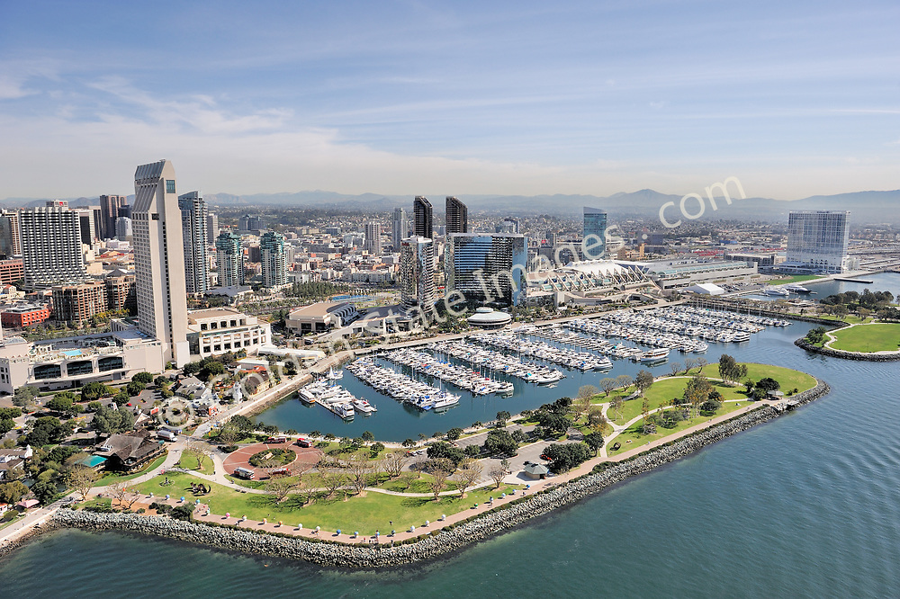 Aerial Photo.<br /> <br /> From left to right, Hyatt hotel, Marriott Hotel, Embarcadero Marina and Park, Convention Center and Hilton Hotel.