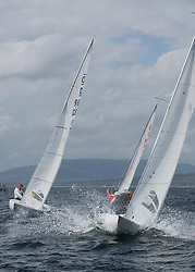 International Dragon Class Scottish Championships 2015.<br /> <br /> Day 1 racing in perfect conditions.<br /> <br /> <br /> Credit Marc Turner